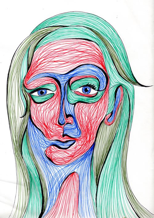 Line Head Female, portrait drawing