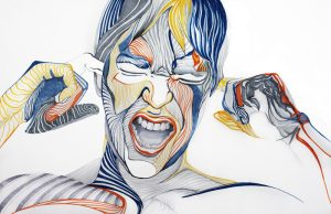 Enough! / Chega!, ink portraiture