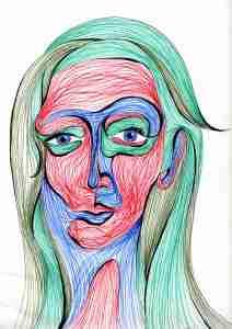 Line Head Female, portrait drawing
