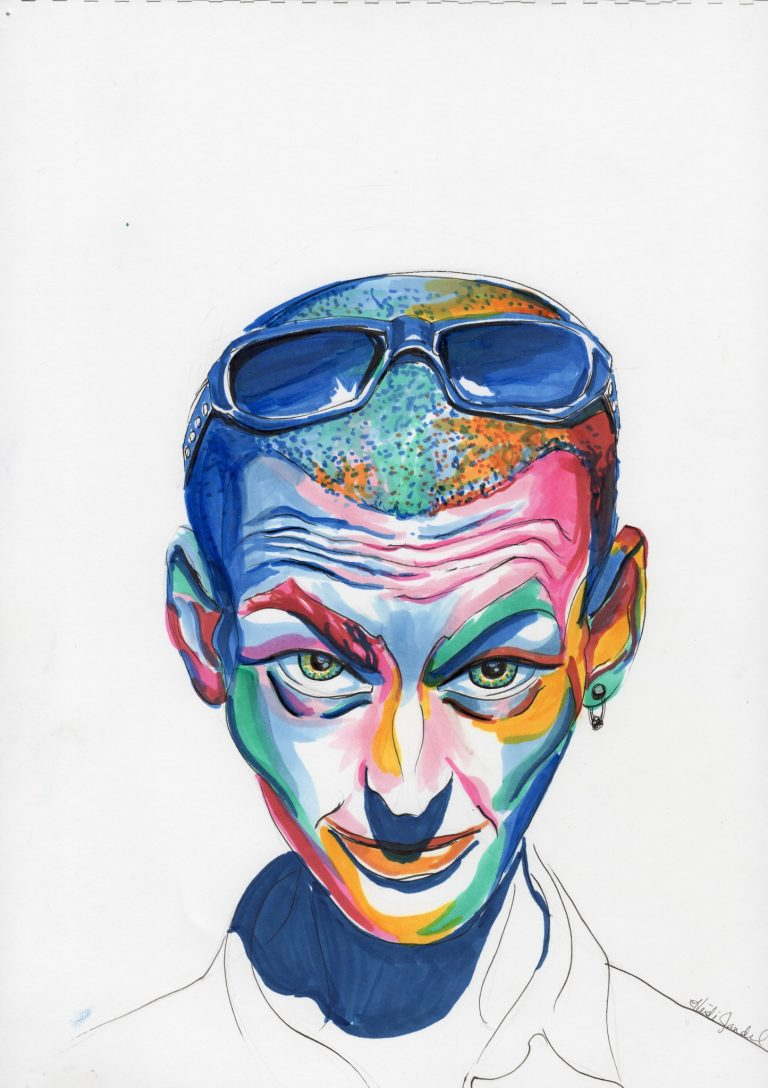 Oliver. Pen & marker on paper. By Heidi Jandel.